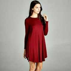 New The Essential dress Beautiful Essential dress in a burgundy shade Perfect for the season,  wear with your favorite boots and leggings Sizes available S M L  Material is rayon and spandex   PRICE FIRM UNLESS BUNDLED  FOLLOW ME ON FACEBOOK SWEET-BB  Please indicate your size needed Boutique  Dresses Long Sleeve