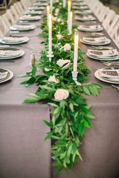 Grey white green wedding tables with bay leaf garland, white candlesticks and San Francisco City Green Wedding Centerpieces, Wedding Decorations, Table Decorations, Table Garland, Leaf Garland, Floral Wedding, Wedding Flowers, Wedding Tablecloths, Wedding Table Settings