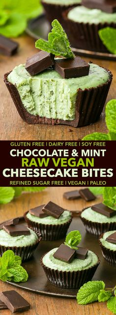 Paleo Vegan Chocolate & Mint Raw Vegan Cheesecake Bites (Gluten, Dairy, Egg, Soy & Refined Sugar Free)