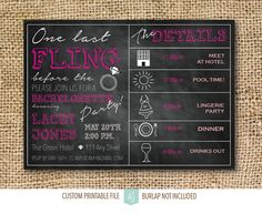 Last Fling Before the Ring-Printable, Bachelorette Party Invitation- Printable File- Chalkboard Invite