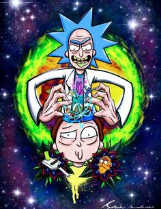 Adventures of a mad scientist Rick and his grandson Morty who travel through parallel worlds and fictional planets. Trippy Wallpaper, Graffiti Wallpaper, Cartoon Wallpaper, Rick And Morty Drawing, Rick And Morty Tattoo, Rick And Morty Quotes, Rick And Morty Poster, Dope Cartoon Art, Dope Cartoons