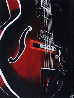 Tonal painting in red of Guitar | Acrylic