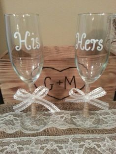 Jute Wrapped His and Hers Champagne Flutes by RusticWeddingsRUs, $29.50