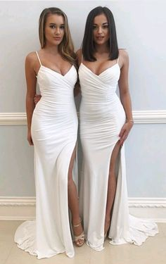 Sexy bridesmaid dress - Spaghetti Straps White Prom Dress with Slit,formal sheath dress, prom dress – Sexy bridesmaid dress Ivory Bridesmaid Dresses, Split Prom Dresses, Straps Prom Dresses, V Neck Prom Dresses, Mermaid Prom Dresses, Cheap Prom Dresses, Sexy Dresses, Dress Prom, Evening Dresses