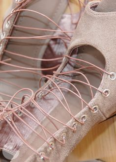 #DIY Prom 2012 x Huff Post Teen: Lace-Up Heels | Runway DIY.com  -- Of course you'd want to use different colors for this #refashion as a #T3 but the texture and edge here is great!