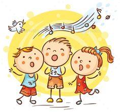 Children singing songs, colorful cartoon drawing by Optimistic Kids Art (Katerina Davidenko illustration) Cartoon Kids, Drawing For Kids, Art For Kids, Kids Singing, Fun Hobbies, Songs To Sing, Stick Figures, Happy Kids, Music Education
