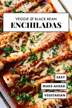 The BEST vegetarian enchiladas, stuffed with broccoli, bell pepper, spinach and black beans, topped with homemade red sauce! Everyone will love this healthy vegetarian enchilada recipe. Recipes vegetarian Veggie Black Bean Enchiladas - Cookie and Kate Enchiladas Vegetarianas, Black Bean Enchiladas, Enchiladas Healthy, Chicken Enchiladas, Vegetable Enchiladas, Spinach Enchiladas, Enchiladas Mexicanas, Tasty Vegetarian, Vegetarian Mexican Food