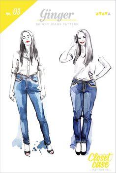 Ginger Skinny Jeans pattern // Envelope Front // Closet Case Patterns 18 usd