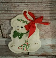 LENOX-Holiday-Teddy-Bear-Cookie-Press-CHRISTMAS-Porcelain-ORNAMENT-Collectible