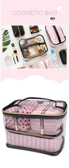 Women's 4-Piece Pink Stripe PVC Cosmetic Travel Bag Set