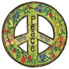 "NEW PRODUCT! 18"" round peace signs. $40 plus shipping. Pre-order NOW for January delivery. #peaceart #paintedpeace #peacesign #homedecor #wallart #painting #woodart #localartist #buylocal #supportthearts"