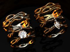 """Classified these wedding band sets as Rockabilly due to the hot rod style flames. I love the """"diamond"""" shaped diamond. So unique and gorgeous."""