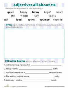 Kids love to talk about themselves; this grammar exercise challenges them to think about adjectives that describe themselves! Writing Sentences Worksheets, Adjectives Activities, Adjective Worksheet, English Grammar Worksheets, Kids Math Worksheets, Sentence Writing, English Prepositions, Literacy Activities, Teaching Resources
