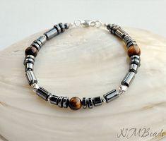 Hematite And Tiger's Eye Beaded Men's Bracelet by NMBeadsJewelry
