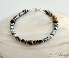 Mens Beaded Bracelet Hematite Tigers Eye Sterling Silver Thai Silver Gemstone Mens Jewelry Chakra Stone Energy Bracelet Gift For Him