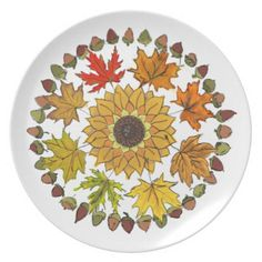 Fall Wreath Dinner Plate Leaves and Acorns - thanksgiving day family holiday decor design idea  sc 1 st  Pinterest & Thanksgiving Plastic Plate #thanksgiving | All About Thanksgiving ...