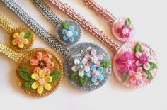 Felt ribbon bookmarks Set of 3 Embroidered by bboutiquebeauties