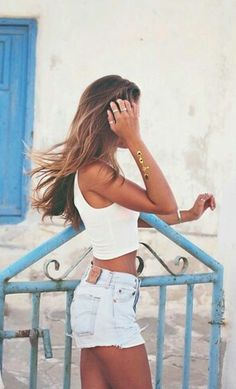 White tank top & high waisted shorts