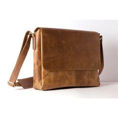 Kleine Messenger Tasche und Umhängetasche aus Leder in camel