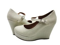 Romie - S Mary Jane Linen Wedge