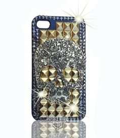 Amazon.com: GOLD Skulls Rivets Studs & Crystal w/BLING Handmade Punk Crystal Iphone 4/4S case/cover by Jersey Bling: Cell Phones & Accessori...