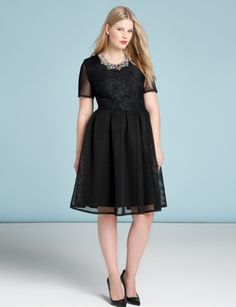 Mesh and Lace Flared Dress | Womens' Top Looks | ELOQUII