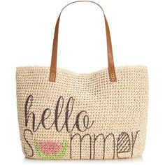 Style & Co. Summer Straw Beach Tote, ($37) ❤ liked on Polyvore featuring bags, handbags, tote bags, purses, summer, beach tote, summer tote bags, beach bag, white tote and beach tote bags
