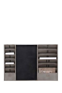 Sort your mail in rustic style with the DecMode Metal Message Board . A chalkboard placed between two panels of numbered slots provides a place for you. Industrial Chic, Industrial Furniture, Furniture Decor, Entryway Furniture, Industrial Office, White Furniture, Kitchen Furniture, Storage Bins, Locker Storage