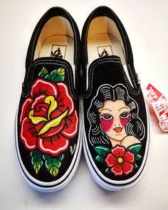 Tattoo style handpainted accessories by LaLuzDesign Vans Shoes Women, Custom Vans Shoes, Custom Painted Shoes, Painted Vans, Hand Painted Shoes, Creative Shoes, Unique Shoes, Hype Shoes, On Shoes
