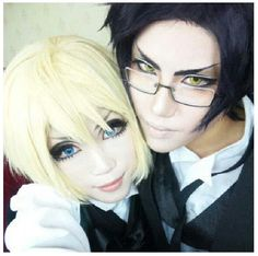 Excellent Alois Trancy & Claude Faustus cosplay -- {anime, manga, otaku, fangirl, anime lover, anime freak, anime fan, crossplay, Black Butler 2, Kuroshitsuji 2, demon, spider, makeup}