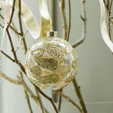 Clear Bauble With Gold Glitter Leaf