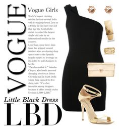"""""""LBD gold"""" by shootingstar710 ❤ liked on Polyvore featuring Yves Saint Laurent, Via Spiga, Tory Burch, River Island, Burberry and SPINELLI KILCOLLIN"""