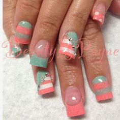 BeautyIsPayne Teal and Coral Summer Nails