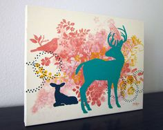 Whimsical Woodland Deer Painting, Coral Yellow Teal, 14x11 inch Original Acrylic Painting on Canvas.