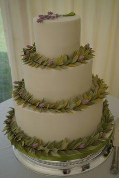 Leaves and lavander wedding cake