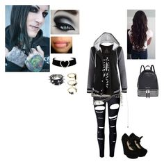 """meeting chris motionless"" by tiffdanielle ❤ liked on Polyvore featuring WithChic, Wet Seal, Forever 21, Michael Kors and Noir Jewelry"