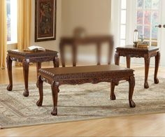 Danbury Cherry Carved Coffee Table Set