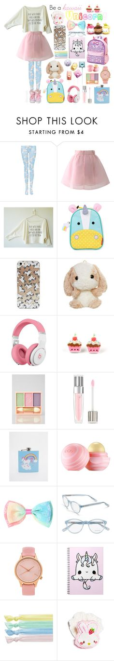 """Pastel Rainbow Unicorns"" by kaomojelli ❤ liked on Polyvore featuring Chicwish, Skip Hop, Beats by Dr. Dre, Paul & Joe, Lancôme, 50Fifty, Eos, Jason Wu, Komono and Ribband"