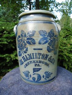 James Hamilton, Greensboro, Pa Stoneware 5 Gallon Crock Jar with Large Roses | eBay  650.00