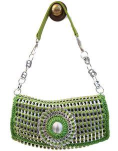 Pop Tab Crochet Handbag Purse - Apple Green, Shoulder, Teen, Woman. $200.00, via Etsy.