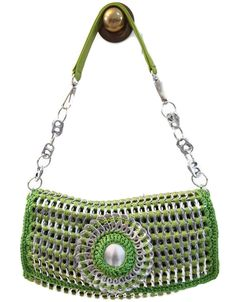 Pop Tab Crochet Handbag Purse - Apple Green, Shoulder, Teen, Woman. $200.00, via Etsy.