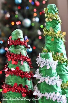 Make a funky and festive forest of foam trees!  #foam #diy #Christmas #tree #trees #craft #crafts