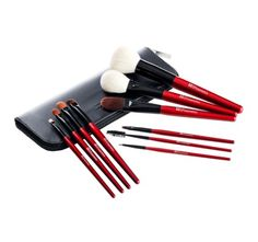 10 pc Deluxe Makeup Brush Set - Red