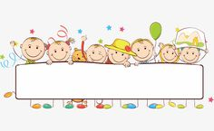Kids standing behind Banner. Illustration of kids standing behid banner on white , Clipart, School Border, School Frame, Powerpoint Background Design, Happy Children's Day, Borders For Paper, Child Day, Cartoon Kids, Cartoon Drawings