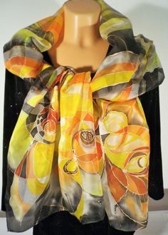 Hand painted silk scarf Autumn Fall yellow orange от LigitaSilkArt