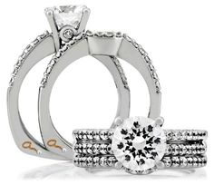 A. Jaffe engagement ring with matching bands