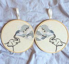 Duas irmãs partilhando uma frase em dois bordados {Two sisters sharing a phrase in two embroidery} ❤️