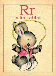 Vintage children's animal flashcard