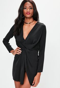 95e4243103 Black Silky Plunge Wrap Shift Dress