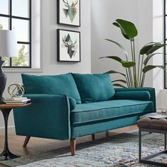 Shop LexMod for Revive Upholstered Fabric Sofa. Find the piece or set you've been looking for to update your home. Turquoise Sofa, Living Room Turquoise, Teal Living Rooms, Teal Sofa, Living Room Designs, Living Room Furniture, Home Furniture, Living Room Decor, Teal Furniture